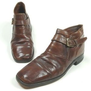 Vintage Freeman Brown Leather Buckle Ankle Boots